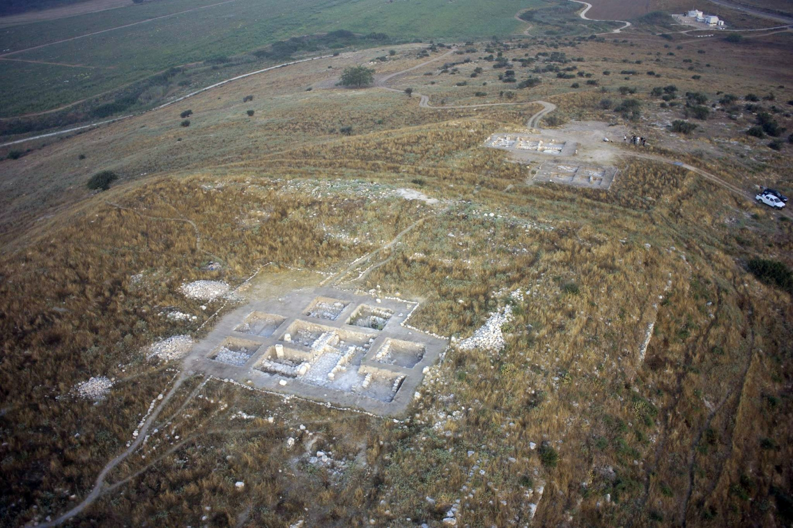 The site of Tel Burna in Shephelah, south-central Israel. Several different excavations are going on and archaeological remains are being found from many different periods