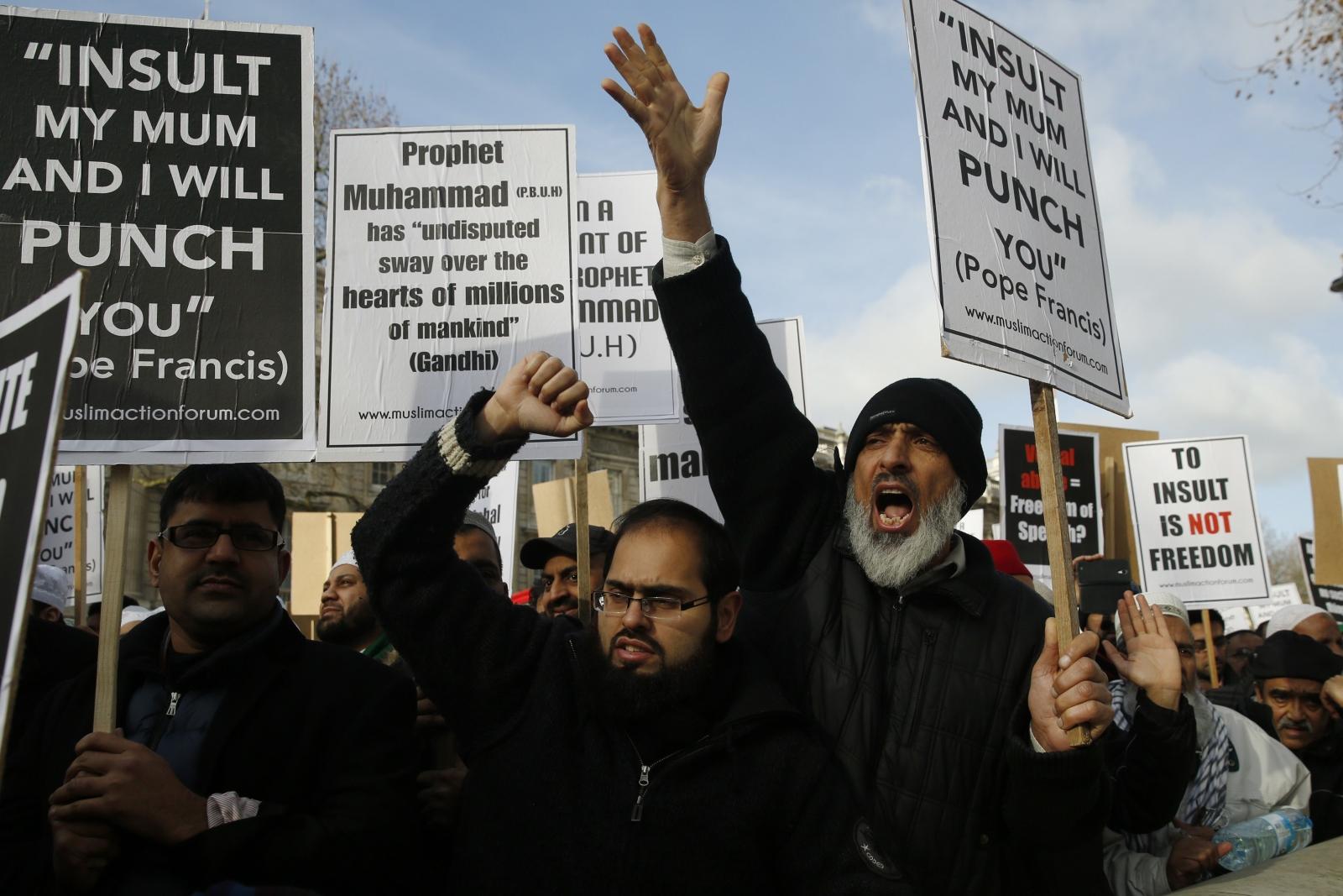 Uk muslims press for peace at 10 downing street - Muslims Converge On Downing Street To Protest Against Charlie Hebdo Mohammed Cartoons