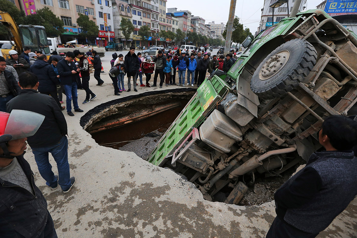 Human activity has been labelled as the cause of this sinkhole in China.