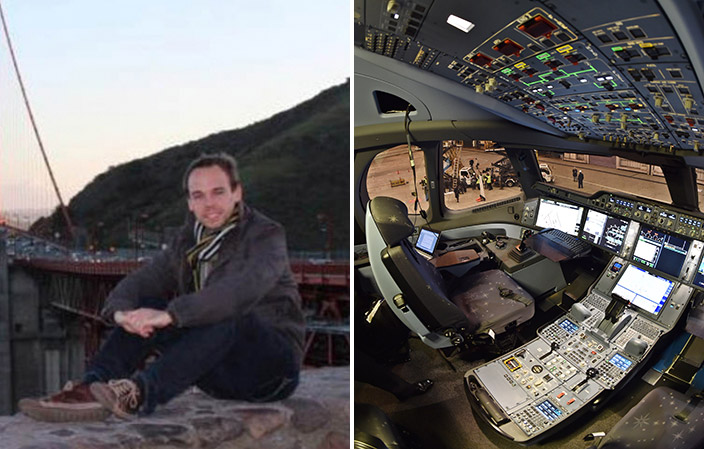 Andreas Lubitz and an Airbus cockpit (Twitter/Getty Images)