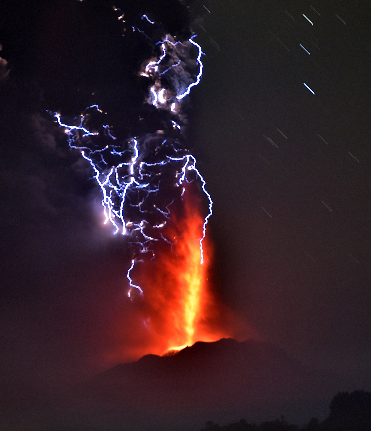 Volcanoes erupting lava with lightning