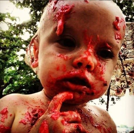 Child Eating Brain Cake