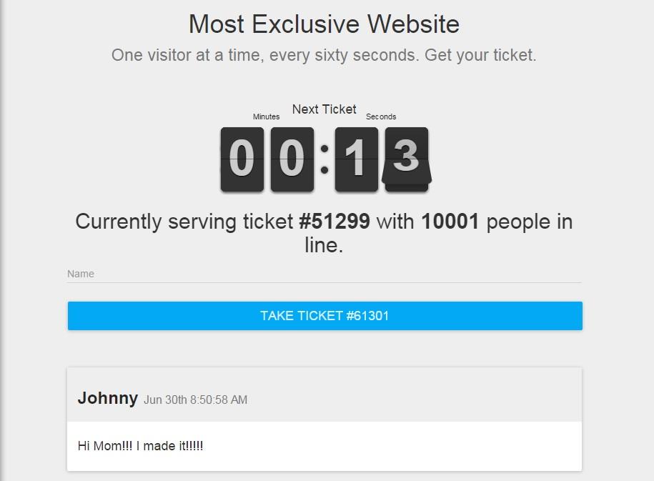 Site mais exclusivo da internet deixa só uma pessoa entrar por vez