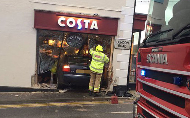 Kent Car Smashes Through Costa Coffee Shop Window Leaving