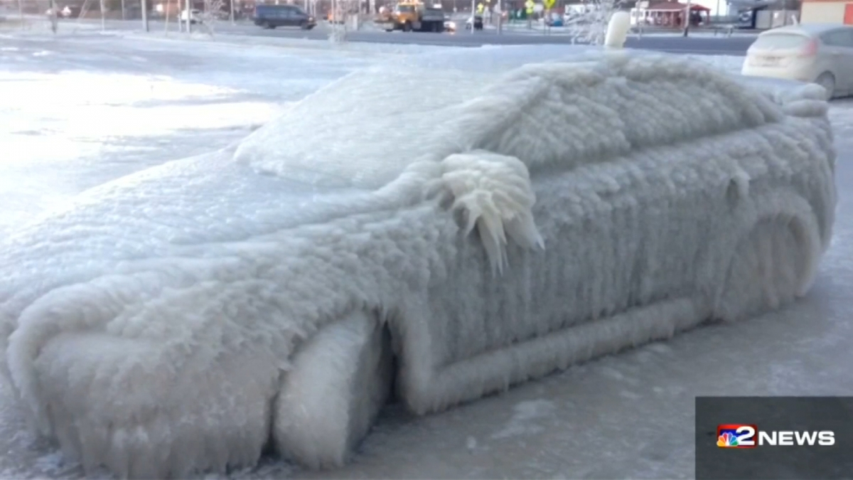 Frozen car Lake Erie