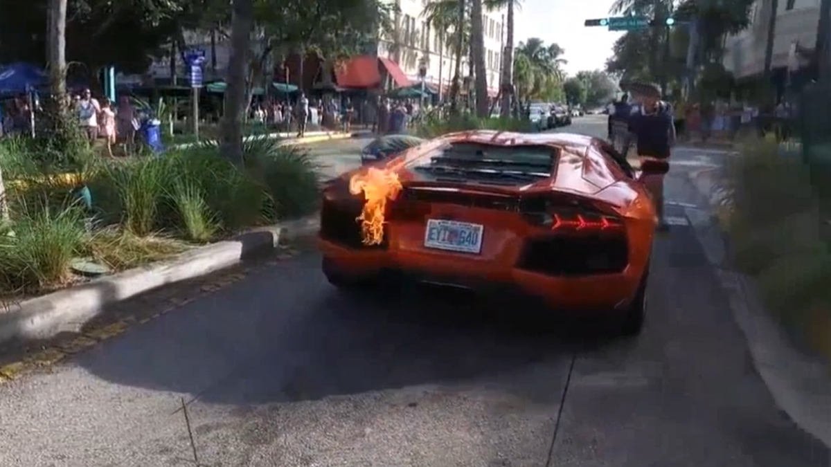 Lamborghini on fire