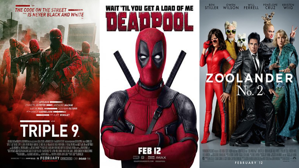 February film preview: Deadpool, Triple 9 & Zoolander 2