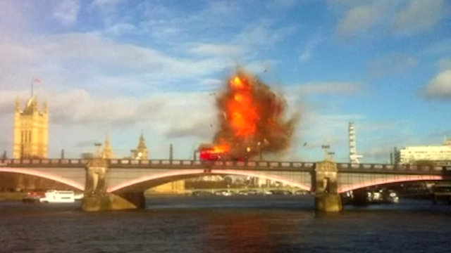 Bus explosion on Lambeth Bridge