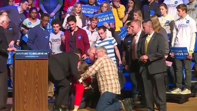 Woman collapses at Bernie Sanders rally