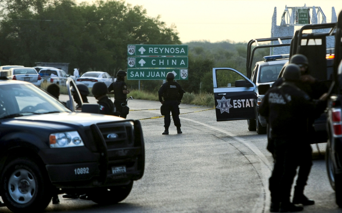 A police roadblock outside Reynosa