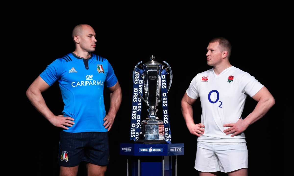 Sergio Parisse and Dylan Hartley
