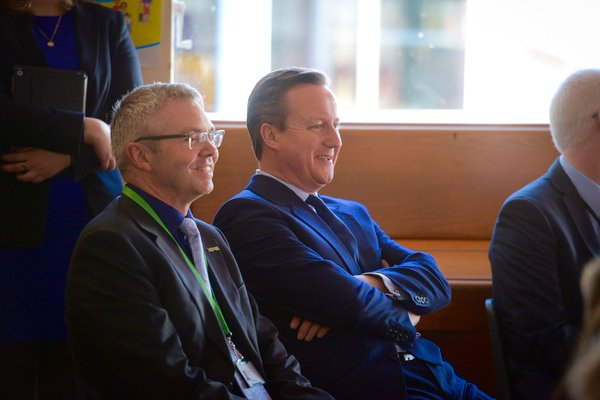 NSPCC's Peter Wanless with David Cameron