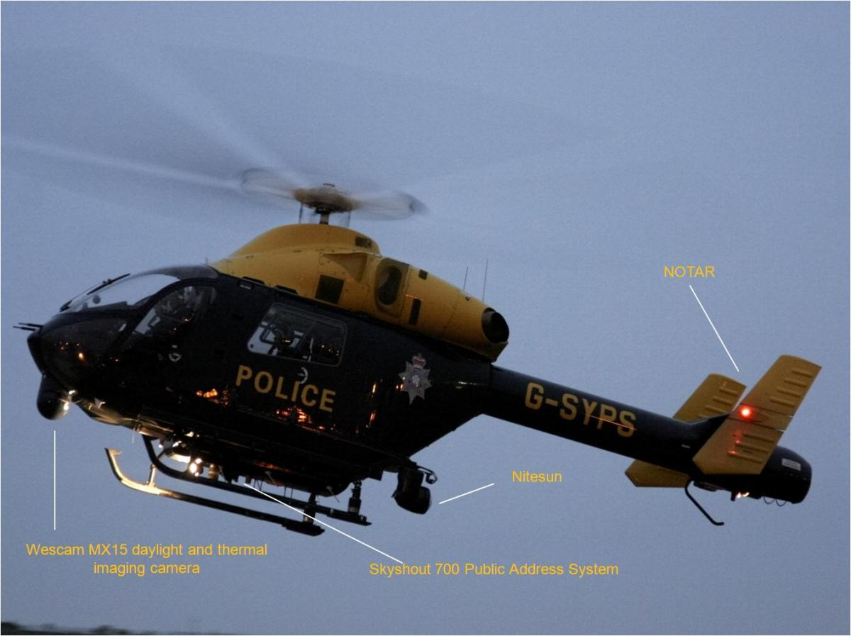 south yorkshire police helicopter crew accused of filming people