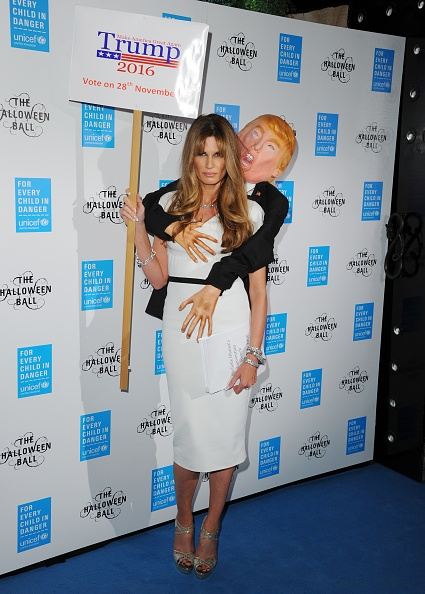 ... up as Melania with 'groping Donald Trump' at UNICEF UK Halloween Ball