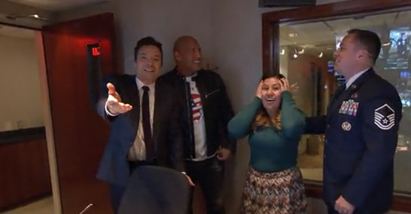 Jimmy Fallon and Dwayne Johnson reunite a military family for Christmas on The Tonight Show