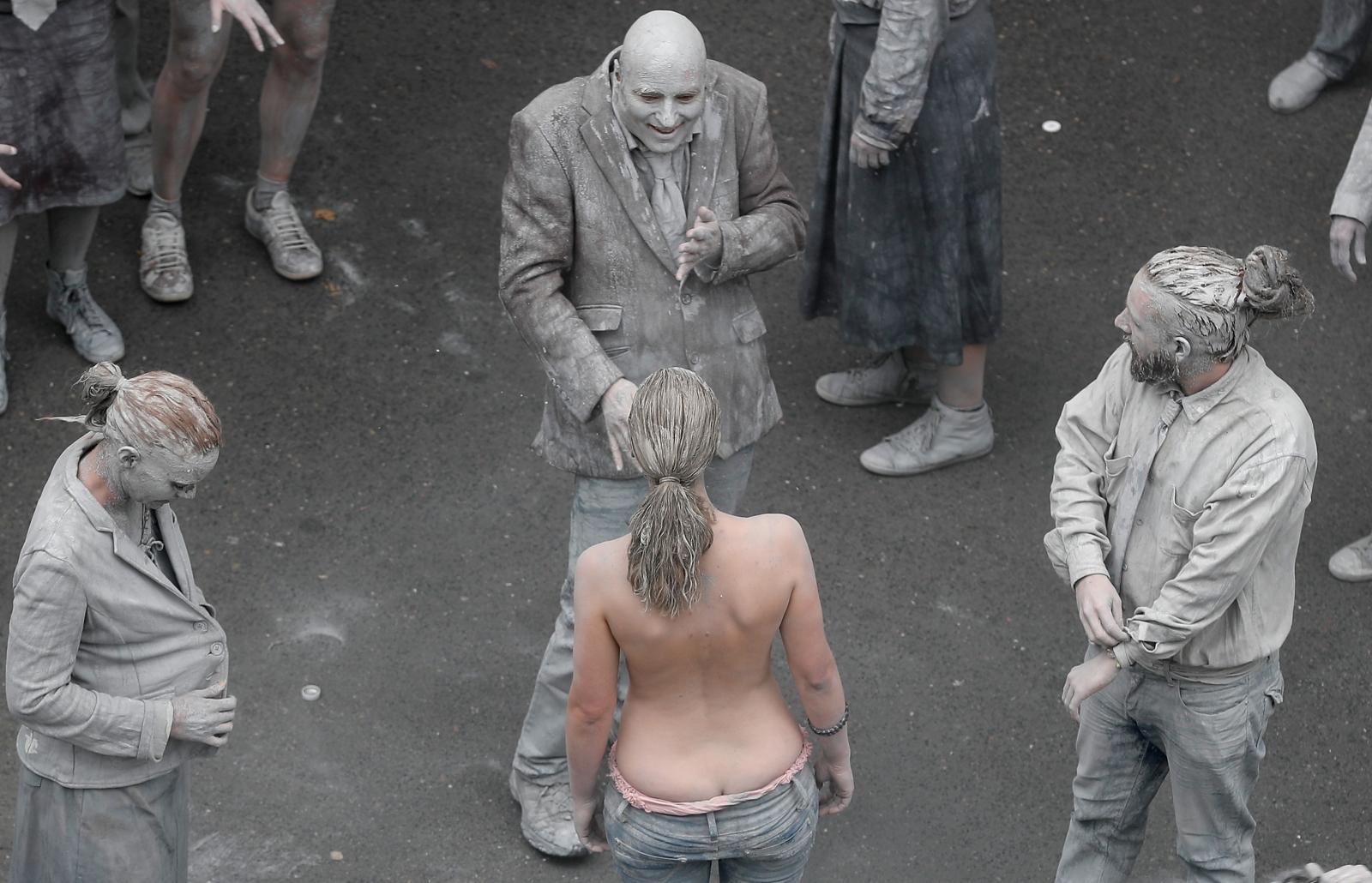 nude protest zombie