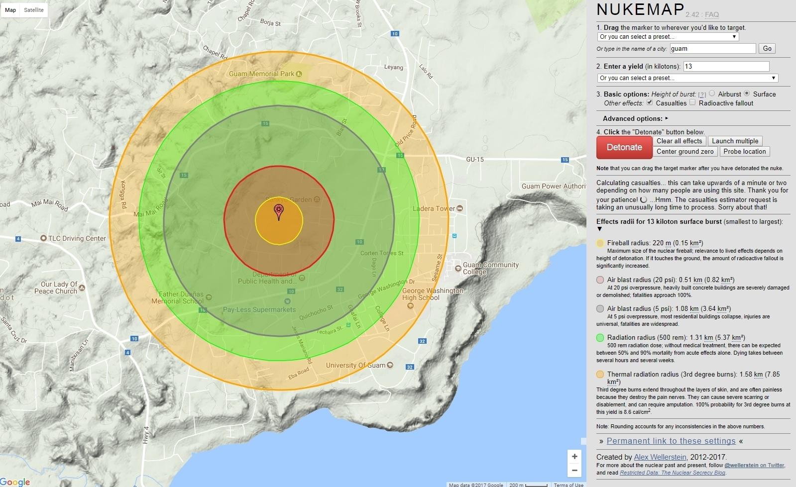 What Happens If North Korea Drops A Nuke On Guam Nukemap Website - Nuke map us