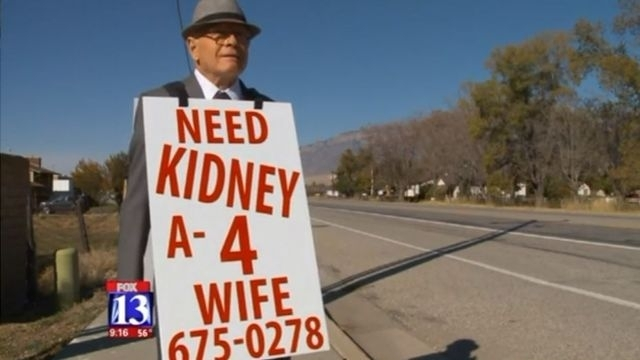 Man, 74, walks miles a day with board around neck pleading for kidney donor for wife