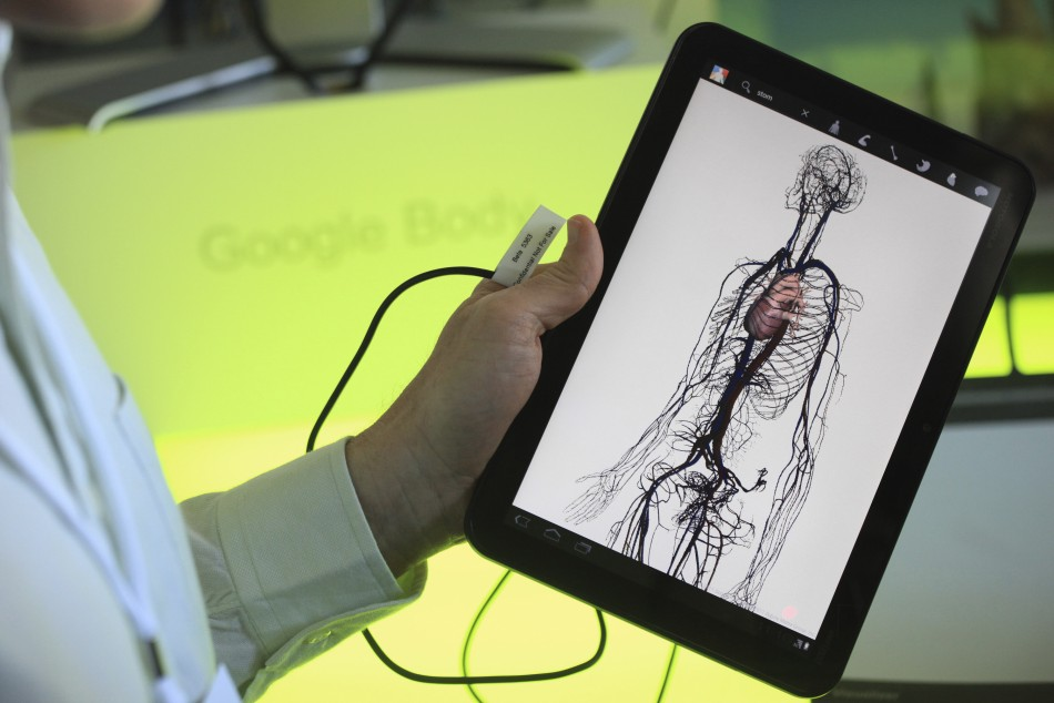 The Google Body app is shown on Google's lates version of Android on a Motorola Xoom tablet device at