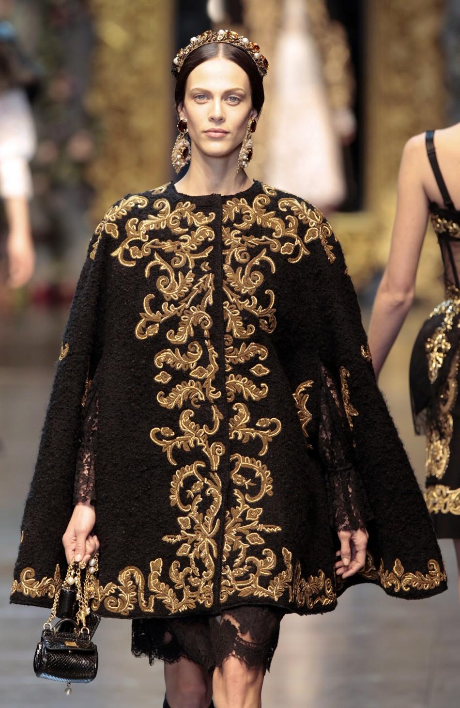 2012 milan fashion week dolce gabbana s baroque romanticism slideshow. Black Bedroom Furniture Sets. Home Design Ideas