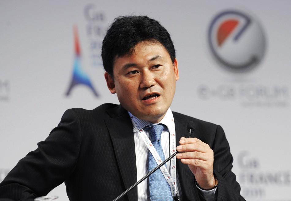 Rakuten CEO Hiroshi Mikitani attends the eG8 forum in Paris