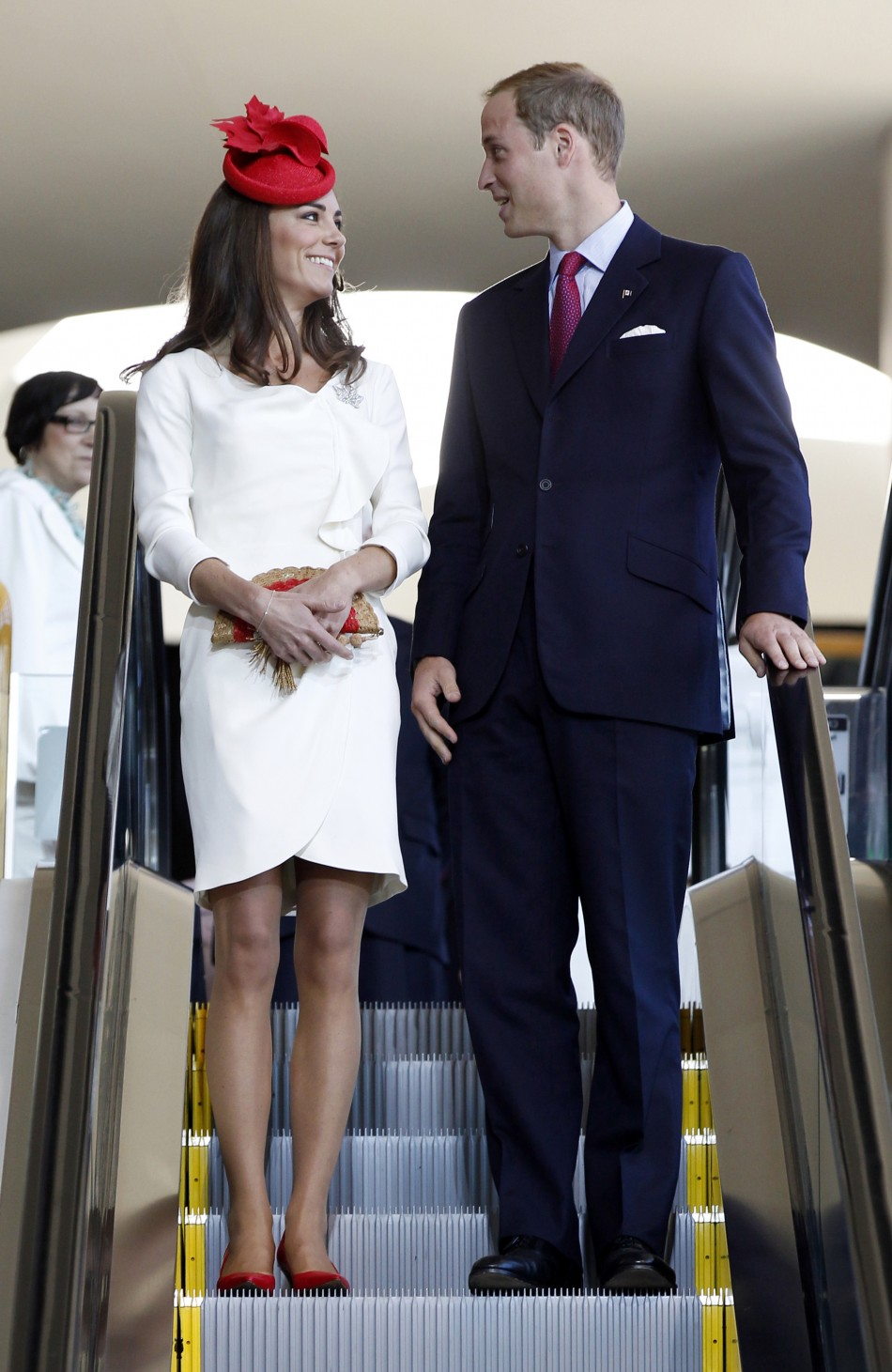 Britain's Prince William and his wife Catherine, the Duchess of Cambridge, arrive at a citizenship ceremony at the Canadian Museum of Civilization in Hull