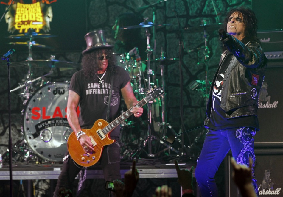 Musicians Alice Cooper and Slash perform at the fourth annual Golden Gods awards at Nokia theatre in Los Angeles