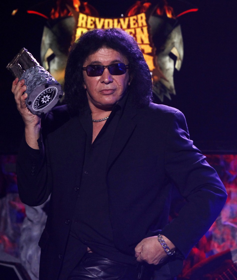 Musician Gene Simmons of band KISS accepts an honorary Golden God award at the fourth annual Golden Gods awards at Nokia theatre in Los Angeles