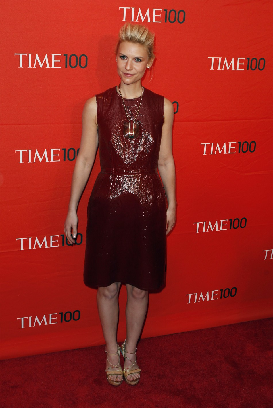 Actress Claire Danes arrives to be honored at the Time 100 Gala in New York