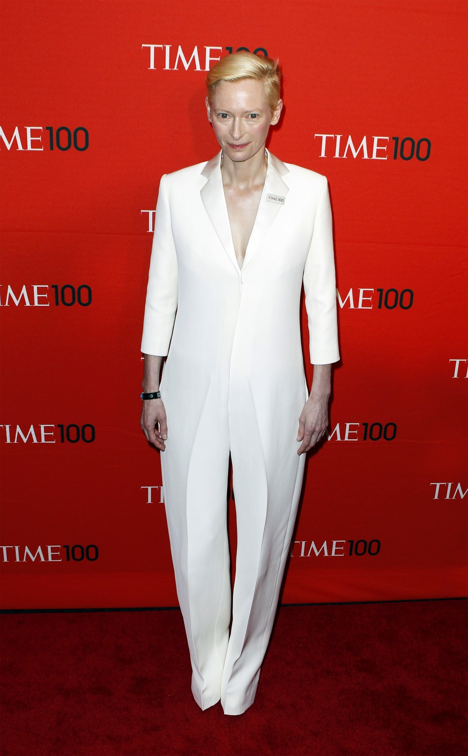 Actress Tilda Swinton arrives to be honored at the Time 100 Gala in New York