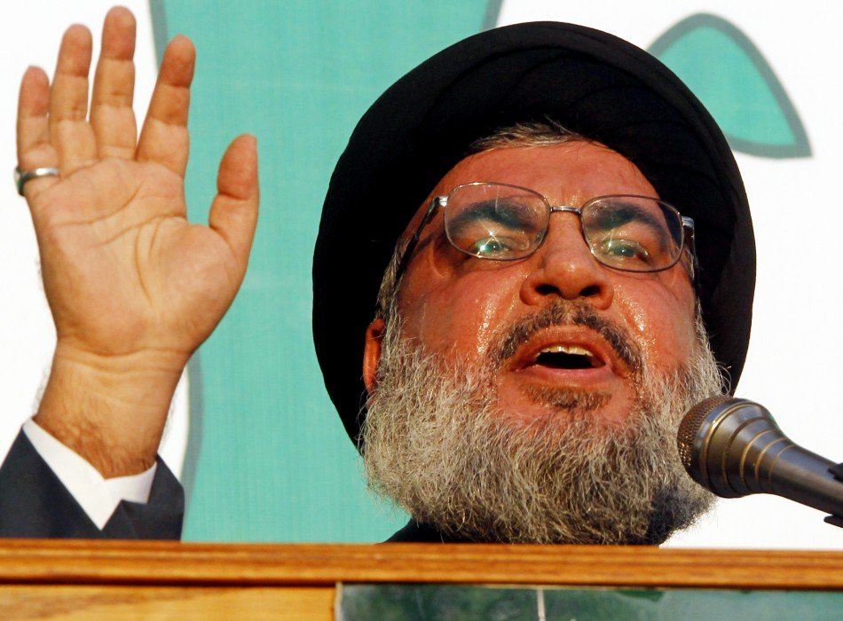 Lebanon's Hezbollah leader Sayyed Hassan Nasrallah addresses his supporters during a public appearance at an anti-U.S