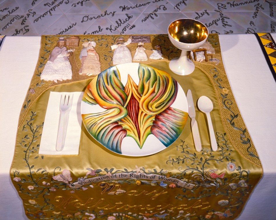 The Dinner Party – Detail Mary Wollstonecraft Placesetting © Judy Chicago, 1979,  collection of the Elizabeth A. Sackler Center for Feminist Art Brooklyn Museum of Art, photo © Donald Woodman