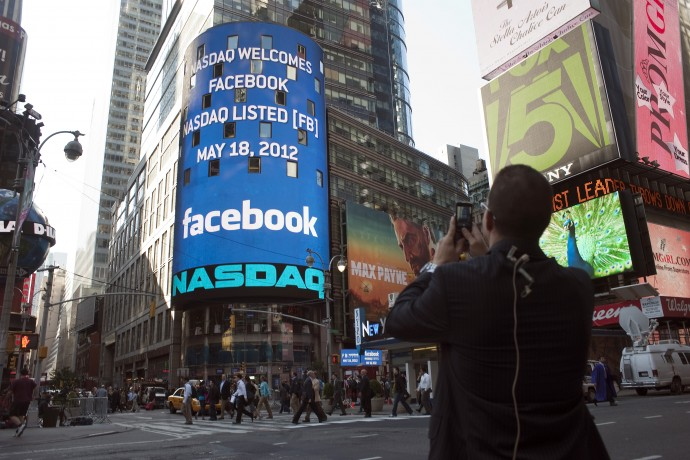 Facebook Logo On Nasdaq Display, Ti