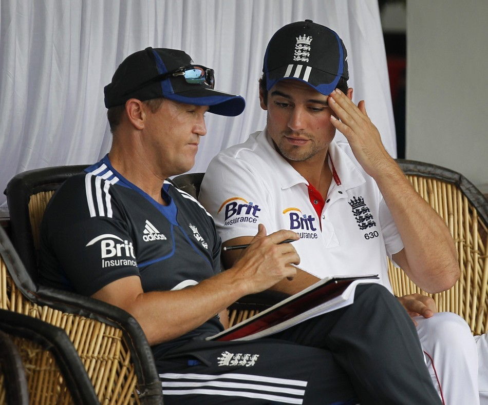 England Coach Andy Flower (L) and Captain Alastair Cook