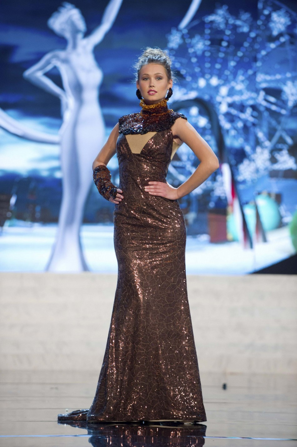 Miss Lithuania Greta Mikalauskyte on stage at the 2012 Miss Universe National Costume Show at PH Live in Las Vegas