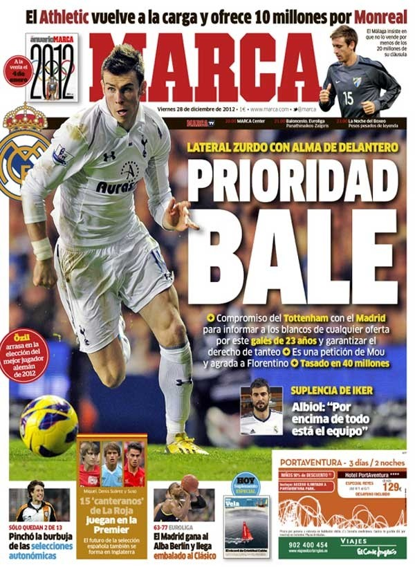 Front page of Spanish newspaper Marca on 28 December, 2012