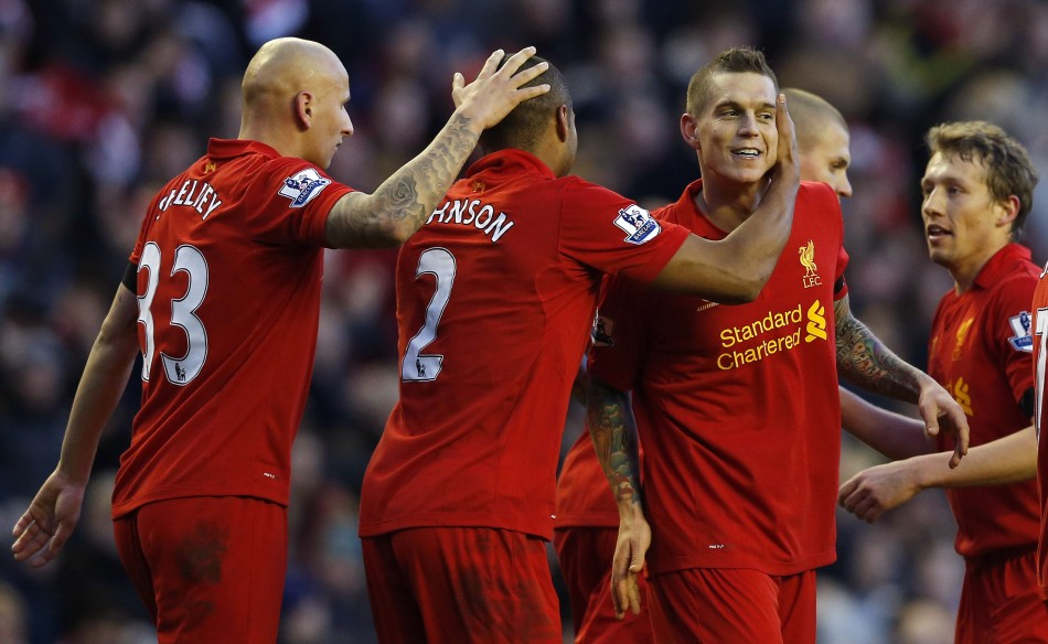 Liverpool's Daniel Agger, Glen Johnson, Jonjo Shelvey and Lucas Leiva celebrate a goal