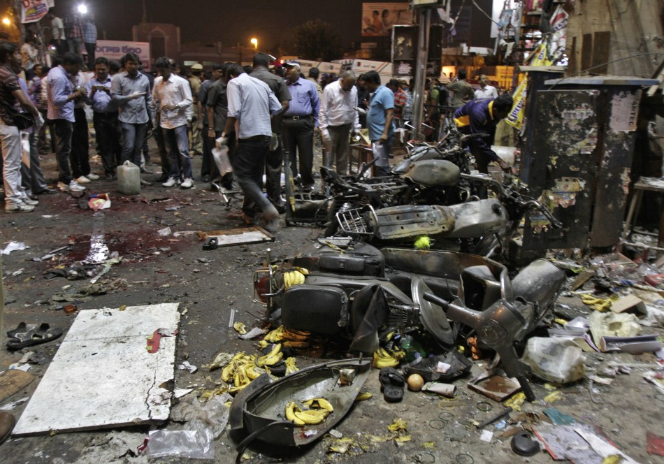 Police examine the site of an explosion at Dilsukh Nagar, in the southern Indian city of Hyderabad (Reuters)