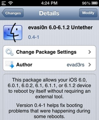 iOS 6.1.2 Untethered Jailbreak: Evasi0n v1.5 Released to Improve Boot-Up Time, Evasi0n v0.4-1 Untether Cydia Update Fixes Boot Issues [How to Install]