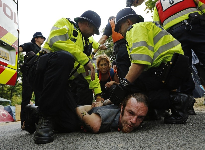 Protesters were arrested during clashes with police at Balcombe over fracking by Cuadrilla Resources