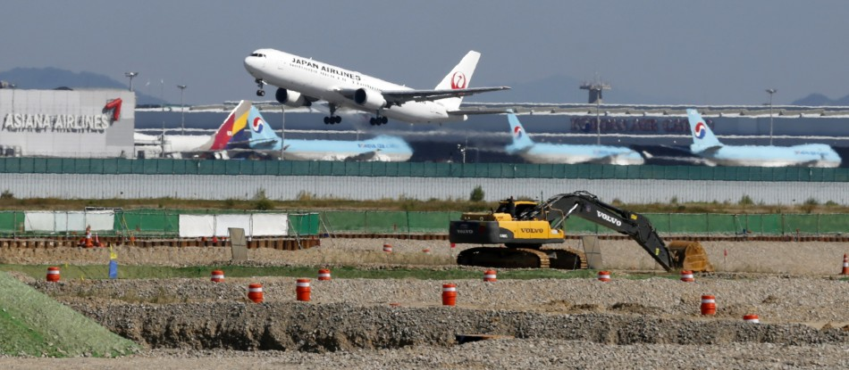 A Japan Airlines airplane takes off