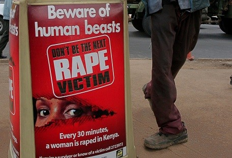 An anti-rape message is seen the Kenyan capital Nairobi (Reuters)