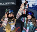 Chloe Kim celebrates her win
