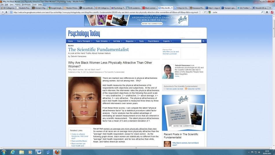 Satoshi Kanazawa's cached blog from Google