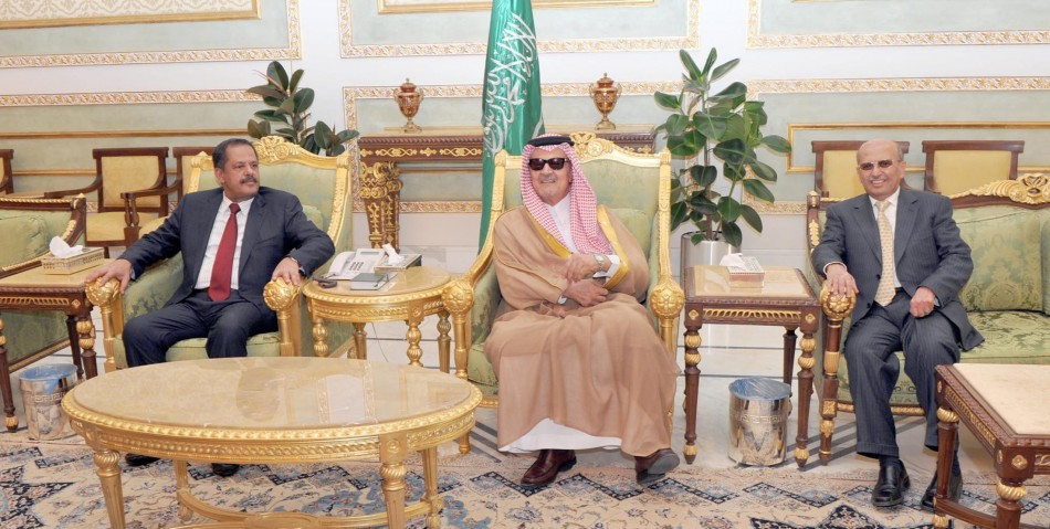 Saudi Arabia's FM Prince Faisal meets with Yemeni PM Megawar and FM Qirbi in Riyadh