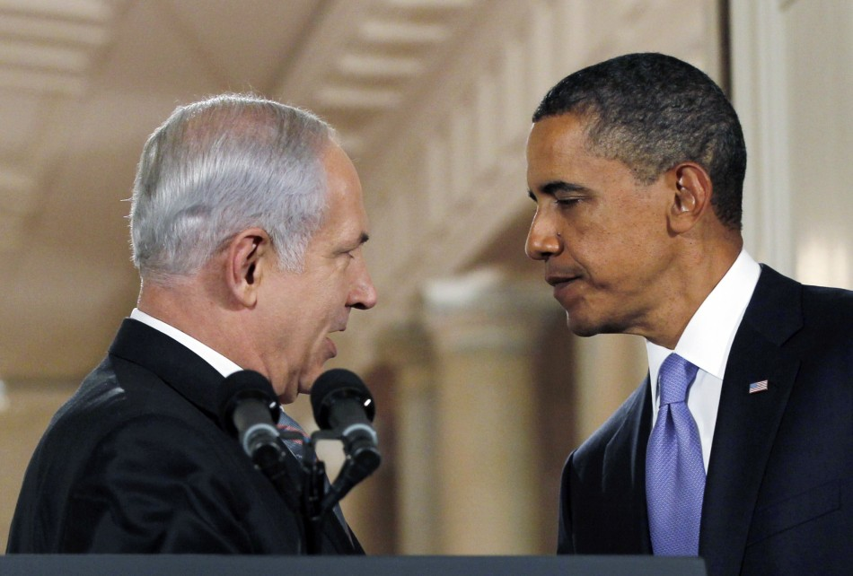 Israeli Prime Minister Netanyahu and U.S. President Obama greet each other as they make a statement on Middle East Peace talks at the White House