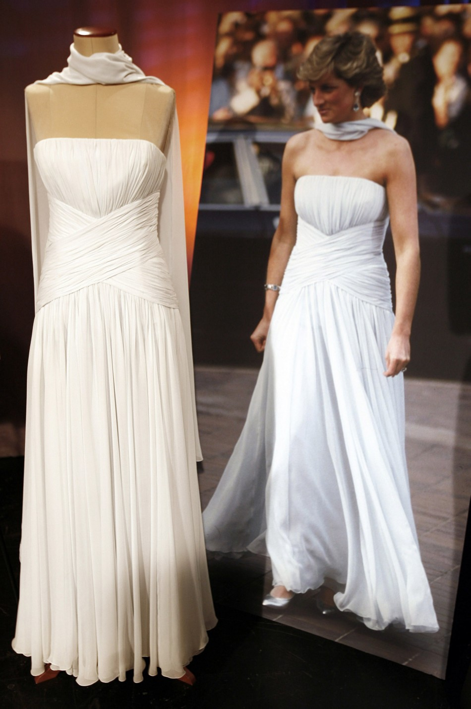 Gown worn by Princess Diana that will be up for television auction is seen in New York