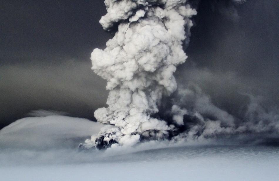 Smoke rises from the Grimsvotn volcano, under the Vatnajokull glacier in southeast Iceland.