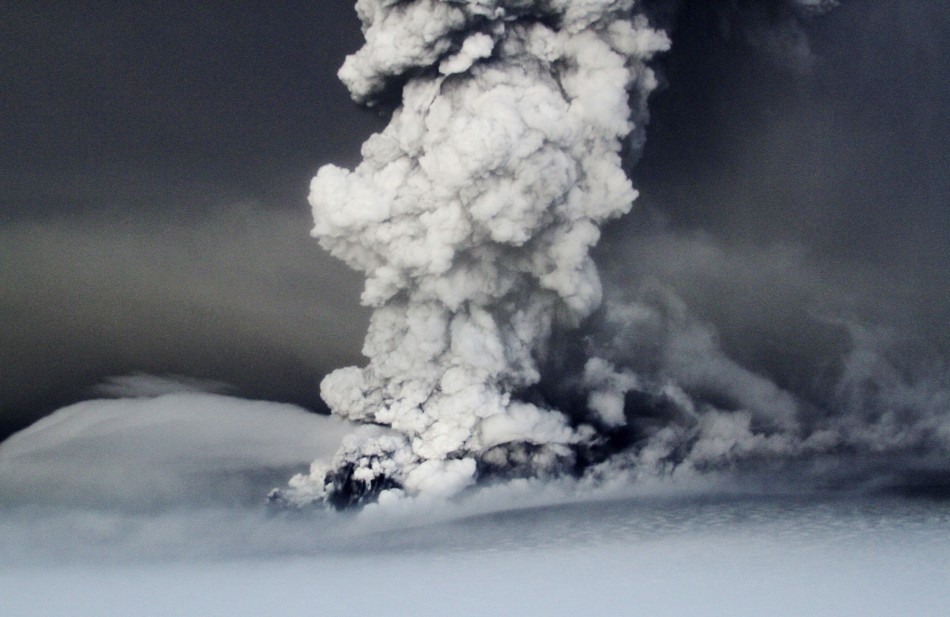 Iceland's airports were closed and domestic flights cancelled yesterday as a spectacular 12-mile high mushroom cloud of ash, steam and smoke filled the sky.