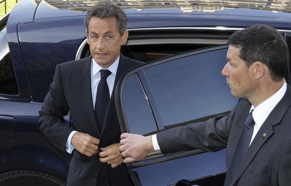France's President Sarkozy arrives for a G20 Globalisation conference held in Paris